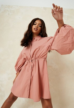 Missguided Blush Puff Sleeve Oversized Shirt Dress