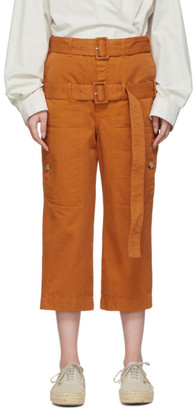 Lanvin Orange Double-Belt Cropped Trousers
