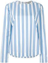 Balenciaga square neck striped blouse