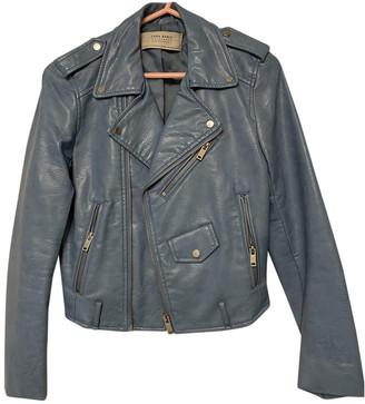 Zara Blue Leather Jackets