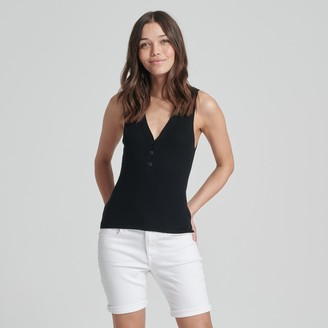 Naadam Summer Silk Button Tank Black