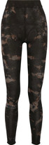 Raquel Allegra Tie-dyed Stretch Cotton-blend Jersey Leggings - Black