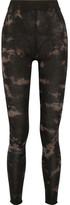Raquel Allegra Tie-dyed Stretch Cotton-blend Jersey Leggings - Black
