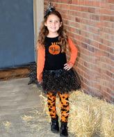 Beary Basics Black & Orange 'Boo' Top & Sparkle Tutu - Toddler & Girls