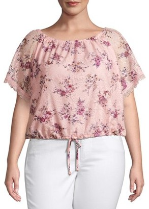No Boundaries Juniors' Plus Size Lace Trim Peasant Top