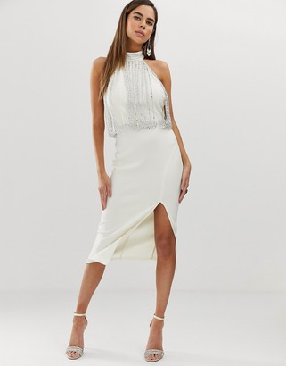 Asos Design DESIGN embellished top halter midi pencil dress-Multi