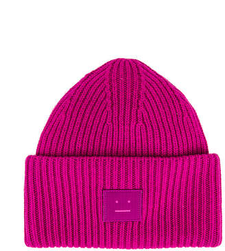 Acne Studios Pansy Face Beanie in Magenta Pink | FWRD