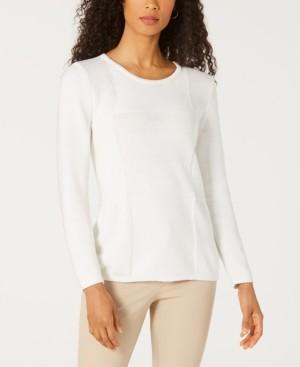 Karen Scott Patchwork-Stitch Pullover Sweater, Created for Macy's