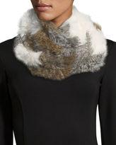 Jocelyn Chevron Sheared Rabbit Fur Infinity Scarf