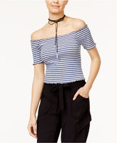 American Rag Juniors' Striped Off-The-Shoulder Crop Top, Only at Macy's