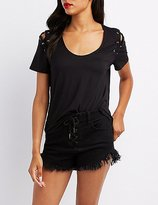Charlotte Russe Lace-Up Detail T-Shirt