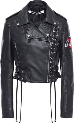 McQ Cropped Lace-up Appliqued Leather Biker Jacket