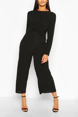 boohoo Tall Wrap Waist Culotte Jumpsuit