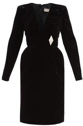 Alexandre Vauthier Brooch-embellished Velvet Mini Dress - Black