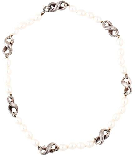 Tiffany & Co. Sterling Silver And Pearl Infinity Necklace
