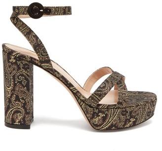 Gianvito Rossi Poppy 70 Paisley-brocade Sandals - Gold