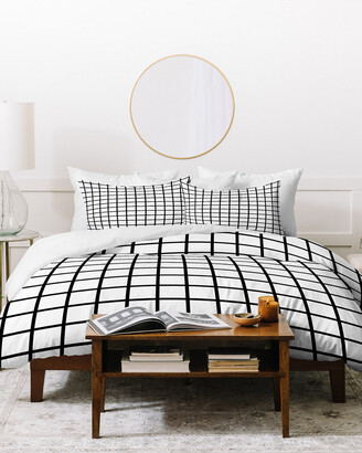 Deny Designs Little Arrow Design Co Monochrome Grid Duvet Cover Set