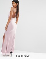 Club L Slinky Wrap Over Maxi Dress with Cross Back