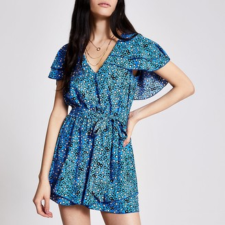 River Island Blue floral frill tie belted playsuit