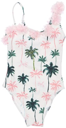 Selini Action Palm Tree Printed One Piece Swimsuit