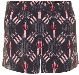 Valentino Printed crepe de chine silk shorts