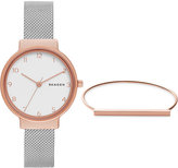 Skagen Women's Stainless Steel Mesh Bracelet Watch & Bracelet Box Set 30mm SKW1080