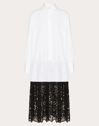 Valentino Poplin And Heavy Lace Dress With Vlogo Signature Print Women White/ Black 100% Cotone 36