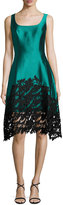 Kay Unger New York Sleeveless Structured Satin Lace-Trim Dress, Teal