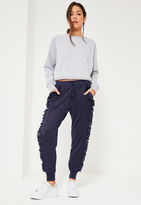 Missguided Blue Ruffle Full Length Casual Joggers