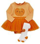 F&F Pumpkin Tutu Halloween Bodysuit with Tights, Newborn Girl's