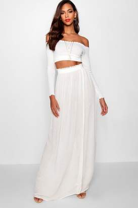 boohoo Tall Woven Shirred Waist Maxi Skirt