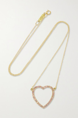Jennifer Meyer Large Open Heart 18-karat Gold Sapphire Necklace