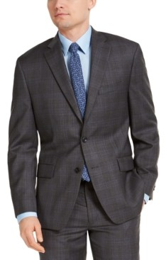 Michael Kors Men's Classic-Fit Airsoft Stretch Charcoal Plaid Suit Jacket