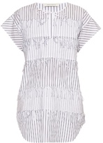 Cédric Charlier Frayed pinstriped cotton top