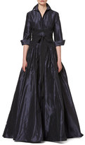 Carolina Herrera 3/4-Sleeve Crisscross-Waist Trench Gown, Navy