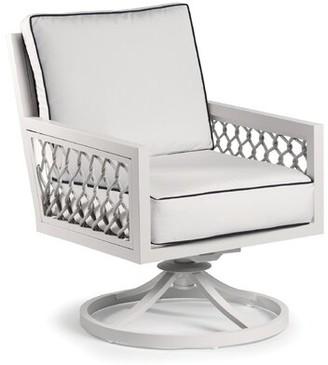 Eddie Bauer Echo Bay Swivel Patio Chair with Sunbrella Cushions Frame Color: Satin White, Cushion Color: Cast Slate