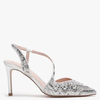 Menbur Tarantasca Sliver Metallic Diamante Sling Back Court Shoes