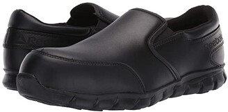 Reebok Work Sublite Cushion Work Comp Toe ESD Slip On (Black) Men's Work Boots