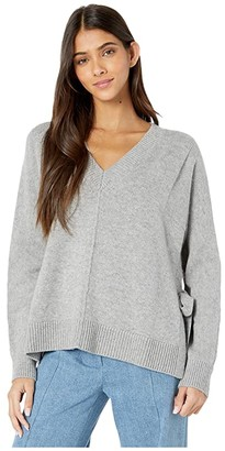 Jason Wu V-Neck Pullover with Side Ties (Light Heather Grey) Women's Clothing
