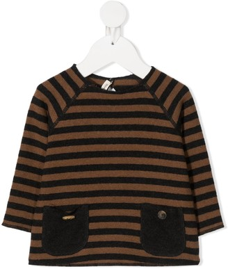 Zhoe & Tobiah Patch-Pocket Striped Sweater