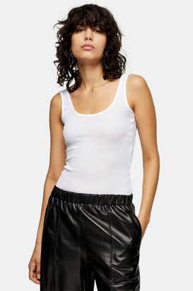 Topshop Womens **White Ribbed Vest By White