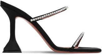 Amina Muaddi 95mm Gilda Embellished Satin Sandals