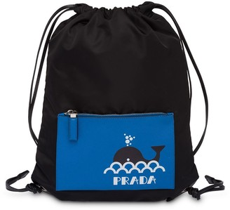 Prada logo print drawstring backpack