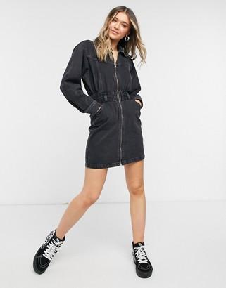 Topshop denim zip front mini dress in black
