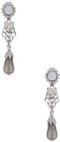 Oscar de la Renta Crystal & Pearl Drop Earrings