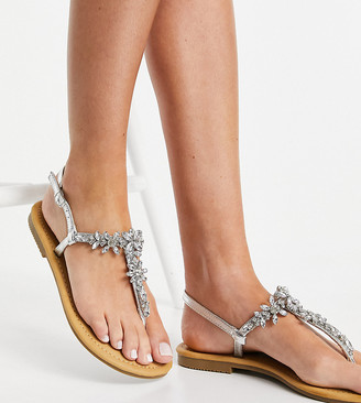 Glamorous Wide Fit toe post flat sandals with embellishments in silver