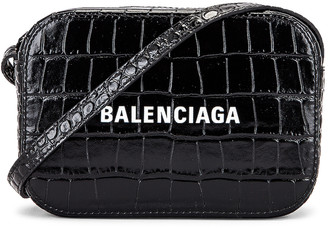 Balenciaga XS Embossed Croc Logo Camera Bag in Black | FWRD