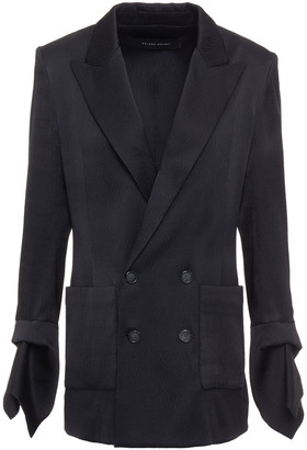 Roland Mouret Nobleman Double-breasted Hammered Silk-blend Satin Blazer