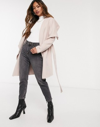 Forever New waterfall wrap coat in pink