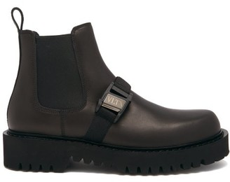 Valentino Buckle-strap Leather Chelsea Boots - Black
